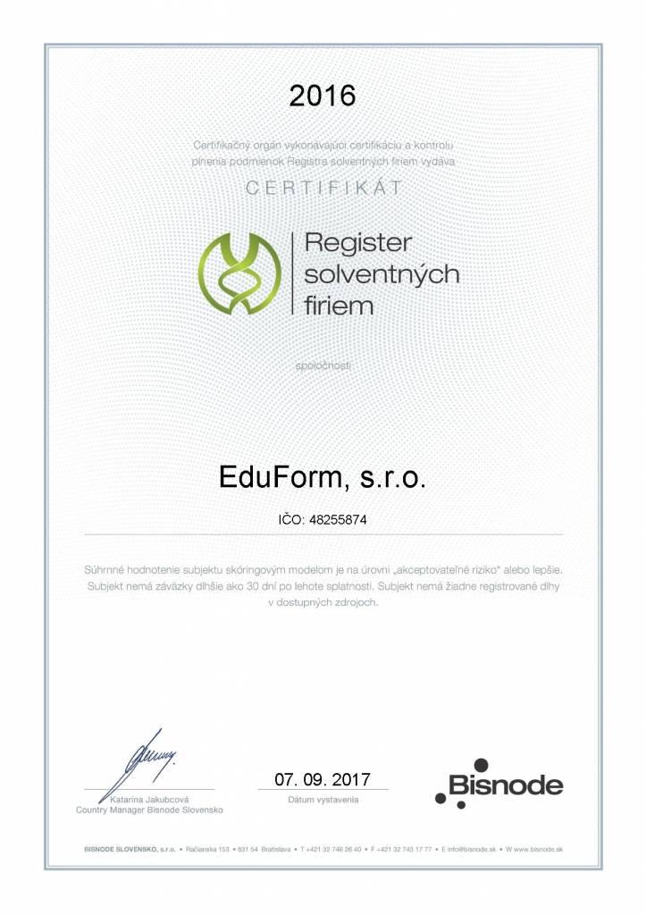 Certifika solventnych firiem